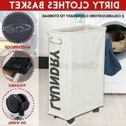 Laundry Basket Rolling Slim On Wheels Foldable Waterproof Wa