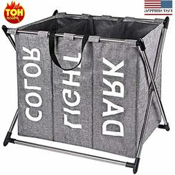 Laundry Hamper Sorter - Stainless Steel X-Frame Basket with