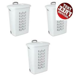 Laundry Hamper with Wheels Lids Set of 3 Hampers Rolling Clo