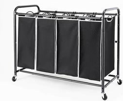 Laundry Sorter 4 Section Basket Bar Hamper Bin Cart Rolling