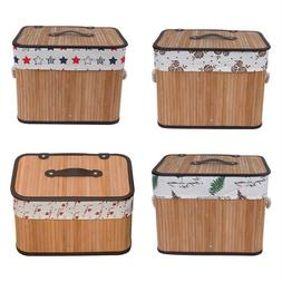 Laundry Storage Basket Box Bamboo Woven Clothes Kid Toys Con