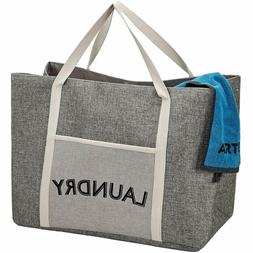 HOMEST Laundry Tote Bag, Large Heavy Duty Dirty Clothes Hamp