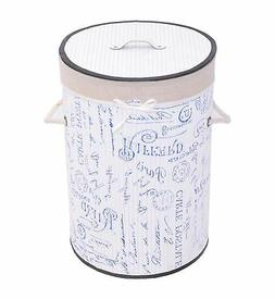 LUXURY BAMBOO FRENCH STAMP BLUE WHITE CARRYING ROUND LAUNDRY