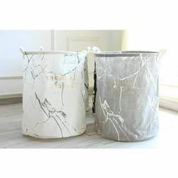 Marble Lettering Folding Hamper Round Clothes Storage Bucket