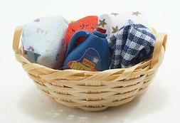 Miniature Dollhouse Laundry Basket With Detergent 1:12 Scale