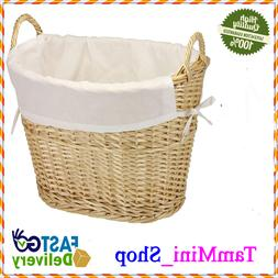 ML-5569 Willow Wicker Laundry Basket with Handles and Liner