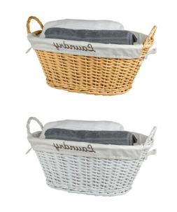 Home Basics NEW Wicker Laundry Bin Basket in White or Natura