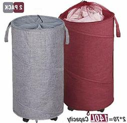 Newest ZYMEO 2 Pack Collapsible Laundry Basket with Wheels,