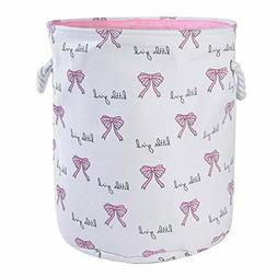 Pink Nursery Hamper Baby Girl Laundry Basket Collapsible Sto