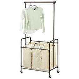 mDesign Portable Laundry Sorter with Wheels and Attached Ste
