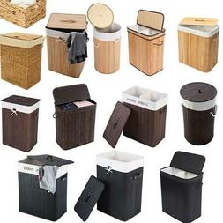 Portable Bamboo Laundry Hamper Basket Duty Clothes Storage S