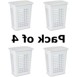 Rectangular LiftTop Laundry Hamper White Case of 4 Indoor Ou