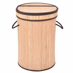 Round Bamboo Hamper Laundry Basket with Lid-Natural