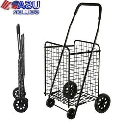 Shopping Cart With Wheels Black Folding Large Heavy Metal Gr