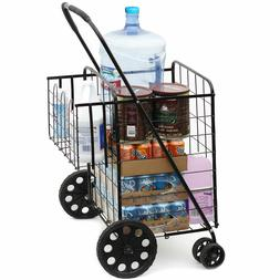 Size Basket with Wheels for Laundry Grocery Trave Folding Sh