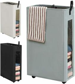 Slim Rolling Laundry Hamper with Wheels Collapsible Tall Lau