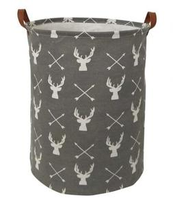 Storage Basket Bin Laundry Deer Grey Rustic Nursery Decor To