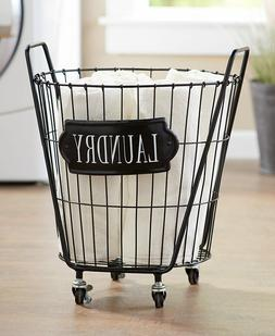 Vintage Industrial-Style Rolling Laundry Room Basket Cart Cl