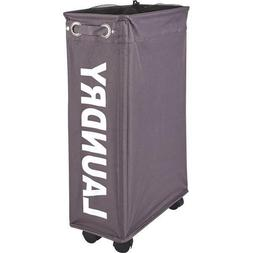 Wenko Wheeled Laundry Hamper Narrow Laundry Bin Polypropylen