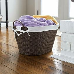 Wicker Laundry Basket Small With Handles Compact Removable L