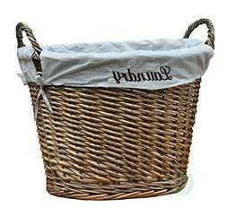 Vintiquewise Wicker Laundry Basket with Liner, White