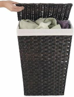 Wicker Laundry Hamper with Cloth Removable Liner Clothes Bas