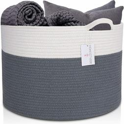 XXL Cotton Rope Basket - For Laundry, Storage, Toys, Clothes